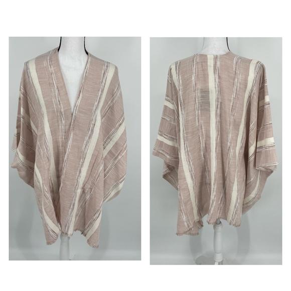 Universal Thread Textured Striped Kimono Clay C58